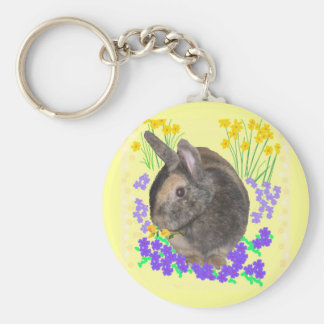 Cute Rabbit Photo and flowers Basic Round Button Key Ring