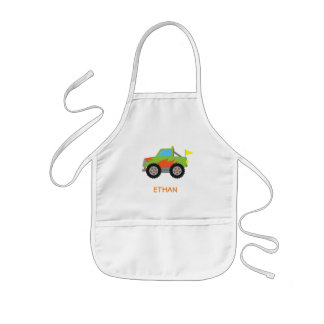 Cute Racing Green Monster Truck for Boys Kids Apron