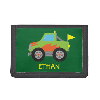 Cute Racing Green Monster Truck for Boys Trifold Wallet