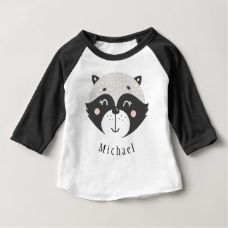 Cute Racoon Personalized Baby 3/4 Sleeve T-Shirt