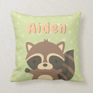 Cute Racoon Woodland Kids Personalised Pillow