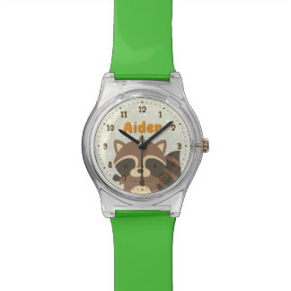 Cute Racoon Woodland Kids Personalised Watch