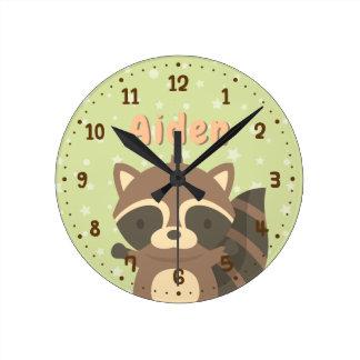 Cute Racoon Woodland Kids Room Decor Clock