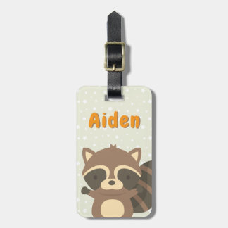 Cute Racoon Woodland Personalised Luggage Tag