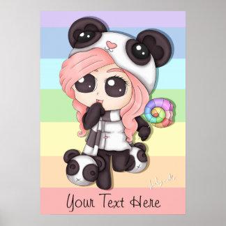 Cute Rainbow Anime Panda Girl Poster
