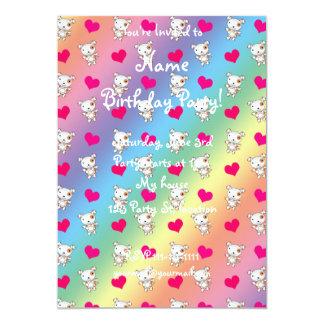 Cute rainbow dog hearts pattern 5x7 paper invitation card