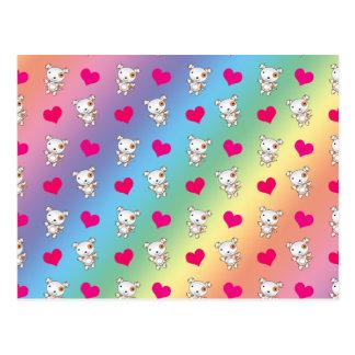 Cute rainbow dog hearts pattern postcard