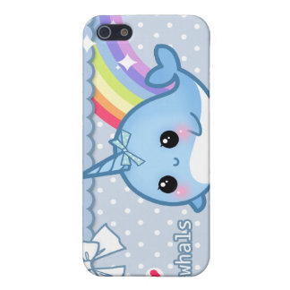 Cute rainbow narwhal on white & blue polka dots iPhone 5 case