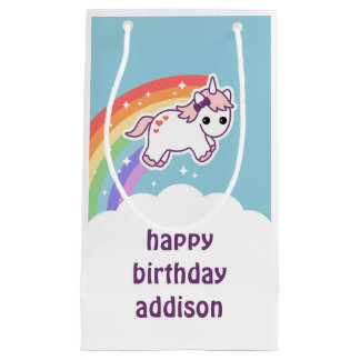 Cute Rainbow Unicorn Birthday Small Gift Bag