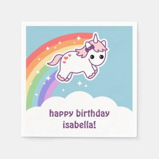 Cute Rainbow Unicorn Paper Serviettes