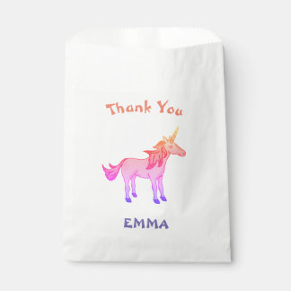 Cute Rainbow Unicorn Thank You Name Favour Bags