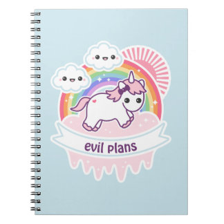 Cute Rainbow Unicorn with Clouds Notebooks