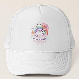 Cute Rainbow Unicorn with Clouds Trucker Hat