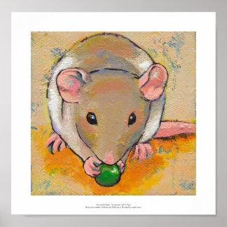 Cute rat adorable pet fun art Cuteness with a Pea Poster
