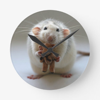 Cute Rat Holding teddy Wallclocks
