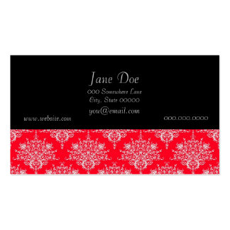 Cute Red and White Floral Damask Pattern Pack Of Standard Business Cards