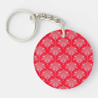 Cute Red and White Floral Damask Pattern Key Ring