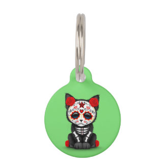 Cute Red Day of the Dead Kitten Cat, Green Pet Tags