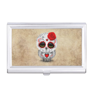Cute Red Day of the Dead Sugar Skull Owl Rough Business Card Holder