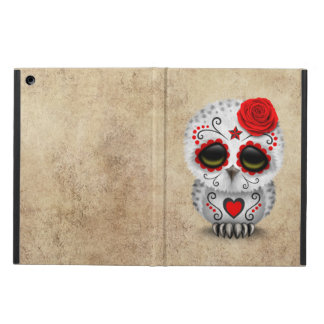 Cute Red Day of the Dead Sugar Skull Owl Rough Cover For iPad Air