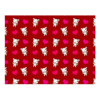 Cute red dog hearts pattern postcard