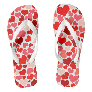 Cute Red Hearts Illustration Jandals