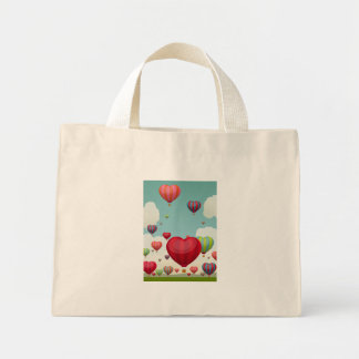 cute, red, pink, orange, blue, cyan, green, white, mini tote bag