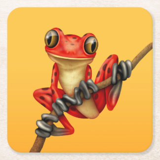 Cute Red Tree Frog on a Branch on Yellow Square Paper Coaster