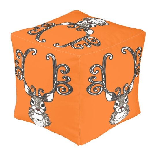 Cute Reindeer deer cottage  pouf pillow orange