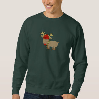 Cute Reindeer Hat Scarf Unisex Holiday Sweatshirt