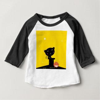 Cute retro Black cat on Yellow Baby T-Shirt
