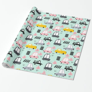 "Cute Retro Cars Glossy Wrapping Paper, 30"" x 6' Wrapping Paper"