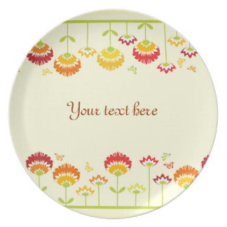 Cute retro flower garden with a name party plate