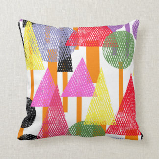 Cute Retro Forest Illustration Kitsch Pillow
