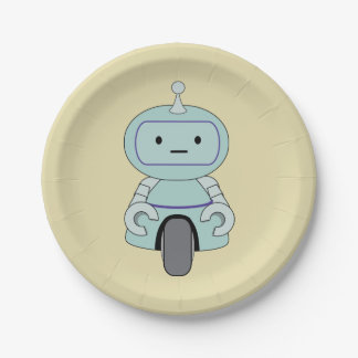 Cute Retro Robot Illustration Paper Plate
