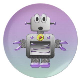 Cute Retro Robot Purple & Blue Plate