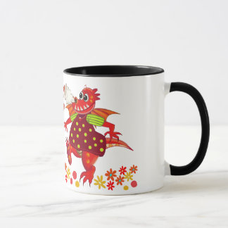 Cute Roamantic cartoon Mug Dragons in Love