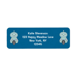Cute Robot Illustration Return Address Label