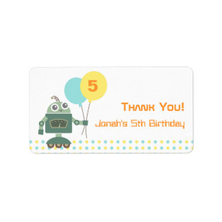 Cute Robot, Kids Birthday Party Favor Labels