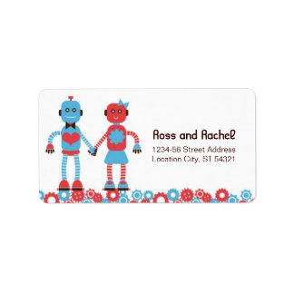 Cute Robot Theme Wedding Label