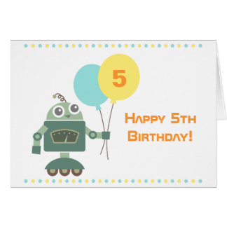 Cute Robot with Balloons, Kids Happy Birthday Card