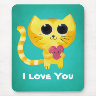 Cute Romantic Cat with Heart Mouse Pad