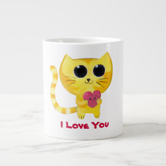 Cute Romantic Cat with Heart Extra Large Mugs