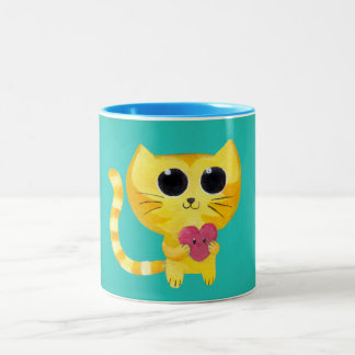 Cute Romantic Cat with Smiling Heart Mugs