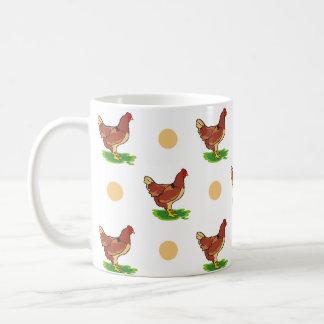 Cute Rooster Chicken Tan Polka Dots Coffee Mugs