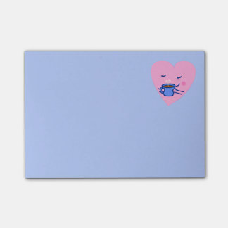 Cute Rosy Coffee Heart Post-it® Notes