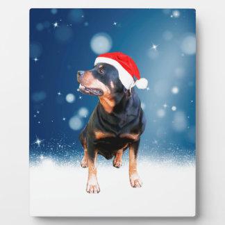 Cute Rottweiler Dog Christmas Santa Hat Snow Stars Plaque