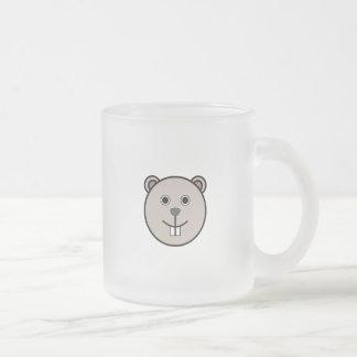 Cute Round Cartoon Bear Face Frosted Glass Mug