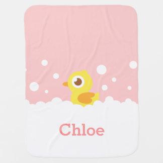 Cute Rubber Ducky in Bubble Bath for Baby Girl Baby Blanket