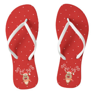 Cute Rudolph the red nosed reindeer cartoon Jandals